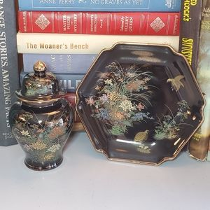 Black and Gold Floral & Quail Ginger Jar & Dish